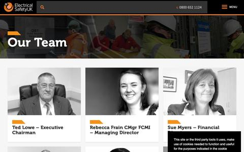 Screenshot of Team Page elecsafety.co.uk - Our Team - Electrical Safety UK - captured Nov. 10, 2018