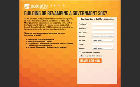 Screenshot of Landing Page paloaltonetworks.com - Government Security Operations Center(SOC) - captured Feb. 16, 2016