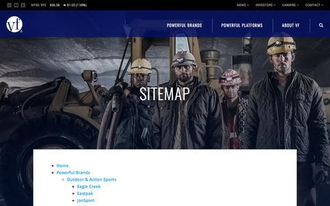 Screenshot of Site Map Page vfc.com - Sitemap :: VF Corporation (VFC) - captured Oct. 21, 2017
