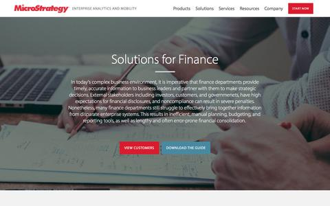 Finance Department - Analytics and Mobility Solutions | MicroStrategy