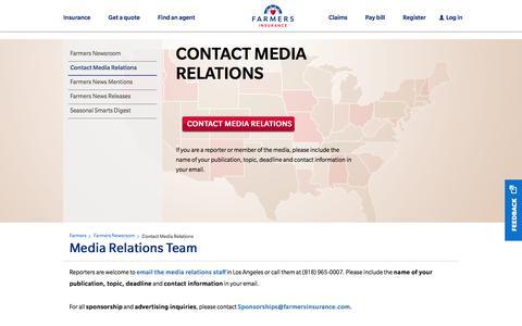 Screenshot of Press Page farmers.com - Media Relations Team | Farmers Insurance - captured Feb. 9, 2018