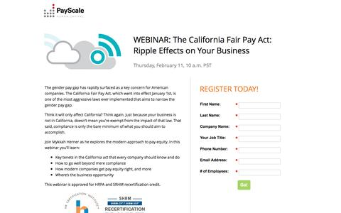 Screenshot of Landing Page payscale.com - The California Fair Pay Act: Ripple Effects on Your Business - captured Sept. 24, 2016
