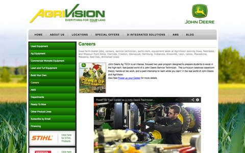 Screenshot of Jobs Page agrivision.us - Iowa Farm Dealer Jobs| Careers| Employment| Service Techs| Parts Clerk| Sales  » AgriVision - captured Oct. 3, 2014