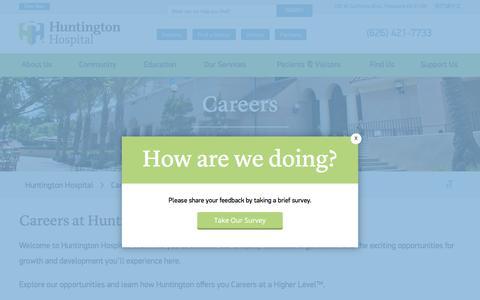 Screenshot of Jobs Page huntingtonhospital.org - Careers | Huntington Hospital - captured Sept. 20, 2017