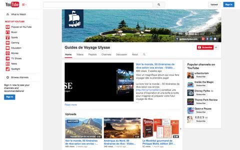 Screenshot of YouTube Page youtube.com - Guides de Voyage Ulysse  - YouTube - captured Oct. 23, 2014