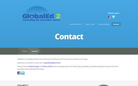 Screenshot of Contact Page globaled2.com - Contact | GlobalEd 2 - Social Studies Reimagined - captured Sept. 30, 2014