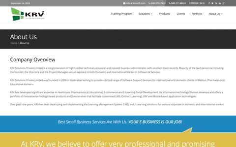 Screenshot of About Page krvsoft.com - KRV Solutions Pvt Ltd : About Us - captured Sept. 24, 2018