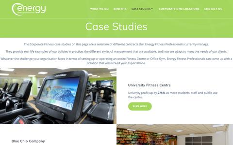 Screenshot of Case Studies Page energy-fitpro.co.uk - Corporate Fitness Case Studies - Energy Fitness Professionals - captured Sept. 28, 2018