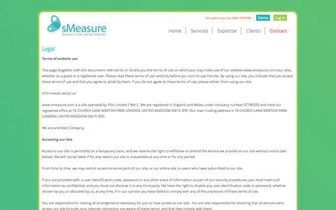 Screenshot of Terms Page smeasure.com - Legal - sMeasure - captured Oct. 7, 2014