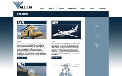 Screenshot of Products Page birdaero.com - BIRD Aerosystems Ltd. - captured Oct. 27, 2014