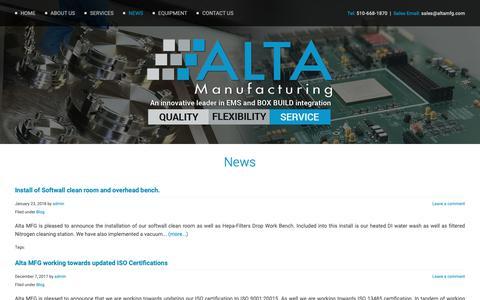 Screenshot of Press Page altamfg.com - News  : Alta Manufacturing - captured Oct. 3, 2018
