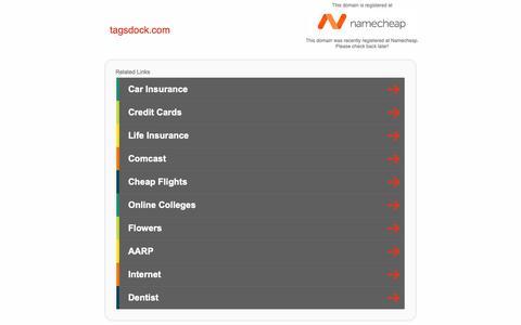 Screenshot of Home Page tagsdock.com - tagsdock.com - captured Feb. 12, 2019