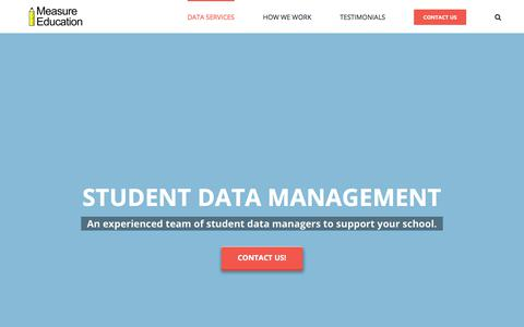 Screenshot of Home Page measureed.com - Student Data Management and Consulting Services - Measure Education - captured Aug. 19, 2019