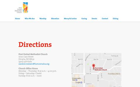 Screenshot of Contact Page Maps & Directions Page fumcomaha.org - Directions | First United Methodist Church - captured July 3, 2018