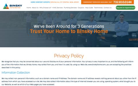 Screenshot of Privacy Page binskyhome.com - Privacy Policy | Home Comfort Experts - captured June 1, 2017