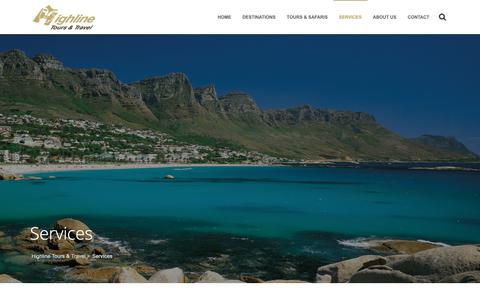 Screenshot of Services Page highline.co.za - Services : Highline Tours & Travel - captured Sept. 28, 2018