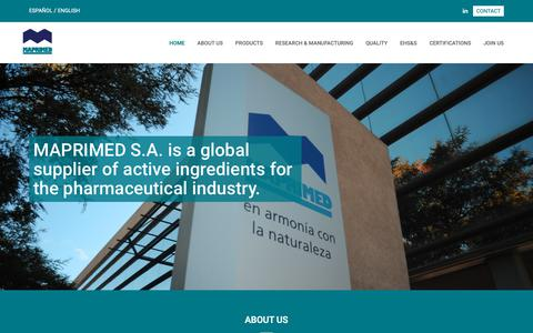 Screenshot of Home Page maprimed.com - Maprimed S.A. - Pharmaceutical industry - Develops and produces active ingredients. By Roemmers S.A - ISO 14001:2004. - captured Oct. 16, 2018
