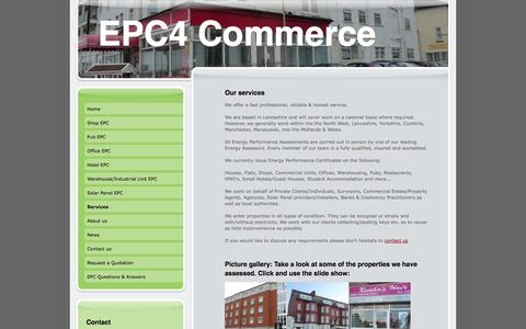 Screenshot of Services Page epc4commerce.co.uk - EPCs for shops, pubs, offices, hotels, warehouses, Industrial units, solar panels - captured Sept. 26, 2014