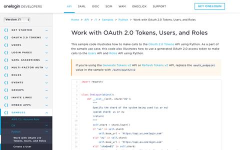 Screenshot of Developers Page onelogin.com - Work with OAuth 2.0 Tokens, Users, and Roles - OneLogin Developers - captured March 4, 2018