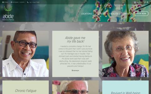 Screenshot of Testimonials Page abide.care - Testimonies and Review – Abide Wellness Retreat Victoria - captured July 1, 2018