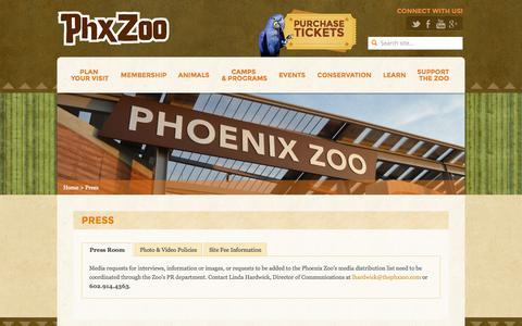 Screenshot of Press Page phoenixzoo.org - Press - Phoenix Zoo - captured Sept. 18, 2014