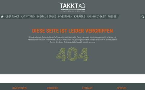Screenshot of Site Map Page takkt.de - TAKKT AG - 404 - captured Dec. 15, 2018