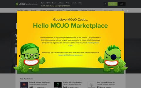 Screenshot of mojomarketplace.com - Buy & Sell Marketplace for Themes, AddOns, Services, Apps and more! - captured Feb. 2, 2016