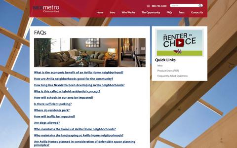 Screenshot of FAQ Page nexmetro.com - FAQ - NexMetro/Avilla lease rentals | Nexmetro - captured Oct. 7, 2014