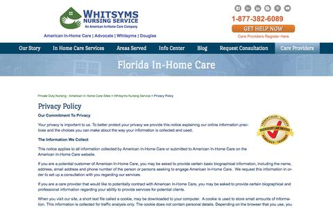 Screenshot of Privacy Page whitsyms.com - Private Home Healthcare Agencies, Live In Elderly Care - American In-Home Care - captured Nov. 5, 2017