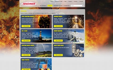 Screenshot of Products Page niedner.com - Products - Niedner - captured Oct. 7, 2014