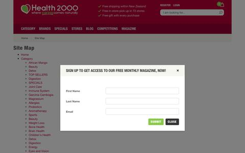 Screenshot of Site Map Page health2000.co.nz - Natural Health Store - Health 2000 - captured July 25, 2017