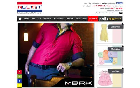 Screenshot of Home Page nolimit.lk - Sri Lanka Biggest and Largest Online Shopping Store - Shop Online for Gents, Ladies, Children for fashionable Clothing and Accessories Bags, Shoes, Watches etc | NOLIMIT - Sri Lanka's Biggest Fashion Chain - captured Nov. 11, 2015