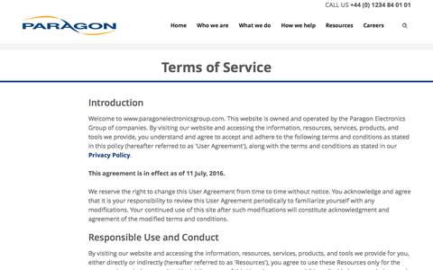 Screenshot of Terms Page paragonelectronicsgroup.com - Terms of Service | Paragon - captured Nov. 30, 2016