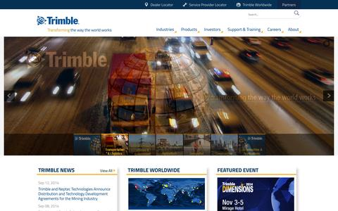 Screenshot of Home Page trimble.com - Trimble - Transforming the Way the World Works - captured Sept. 25, 2014