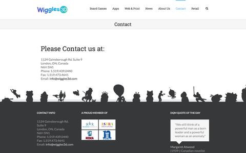 Screenshot of Contact Page wiggles3d.com - Wiggles 3D   –  Contact - captured March 2, 2017