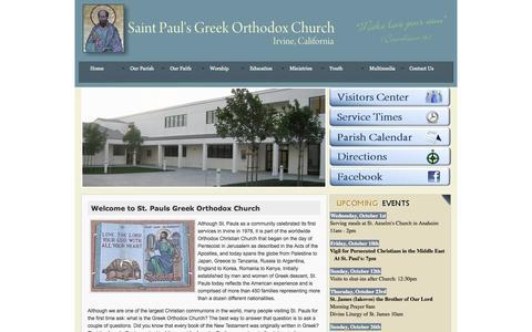 Screenshot of Home Page stpaulsirvine.org - Saint Pauls Greek Orthodox Church - Irvine, CA - captured Oct. 1, 2014