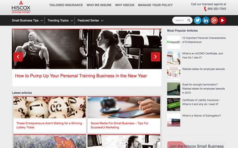 Screenshot of Blog hiscox.com - Small Business Blog   Hiscox - captured Jan. 17, 2016