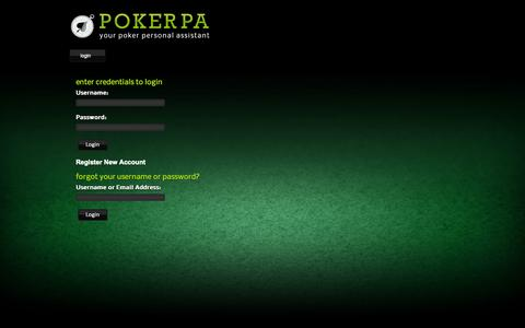 Screenshot of Login Page pokerpa.com - PokerPA - captured Sept. 30, 2014