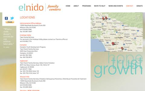 Screenshot of Locations Page elnidofamilycenters.org - El Nido Family Centers Office Locations - El Nido Family Centers - captured Sept. 29, 2014
