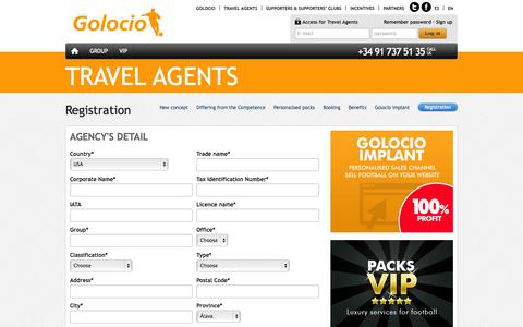 Screenshot of Signup Page golocio.com - Travel Agents - Registration-Football and tourism at the best price - Golocio.com - captured Sept. 27, 2014