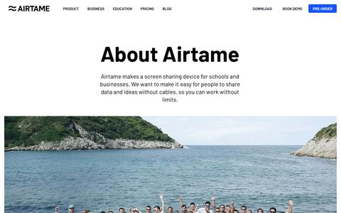 Screenshot of About Page airtame.com - About us - Airtame - captured Oct. 15, 2018