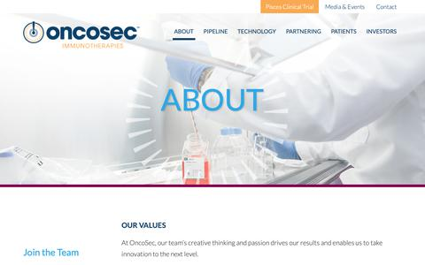 Screenshot of Signup Page oncosec.com - OncoSec – About – Join the Team - captured Oct. 18, 2018
