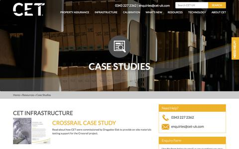 Screenshot of Case Studies Page cet-uk.com - CET Case Studies - download examples of our recent projects - captured July 14, 2018
