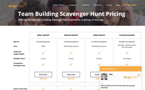 Screenshot of Pricing Page strayboots.com - Team Building Scavenger Hunt Pricing | Strayboots - captured Oct. 19, 2018