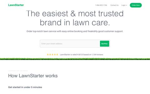 Screenshot of Home Page lawnstarter.com - Lawn Care Service Near You | Lawn Mowing | LawnStarter - captured July 16, 2017