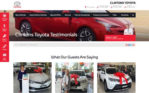 Screenshot of Testimonials Page clintonstoyota.com.au - Clintons Toyota Testimonials - Clintons Toyota - captured July 14, 2018