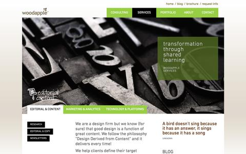 Screenshot of Services Page iwoodapple.com - Woodapple: Editorial and Content | Creative Content Company - captured Oct. 14, 2017