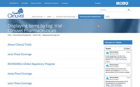 Screenshot of Trial Page clinuvel.com - Displaying items by tag: trial - Clinuvel Pharmaceuticals - captured Oct. 2, 2014