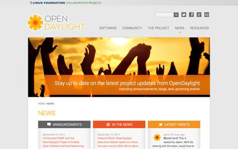 Screenshot of Press Page opendaylight.org - News | OpenDaylight - captured Sept. 19, 2014
