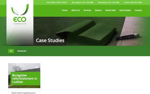 Screenshot of Case Studies Page ecoukltd.com - Eco Cladding case studies | Eco Cladding UK Ltd | Eco Cladding UK Ltd - captured Oct. 8, 2014